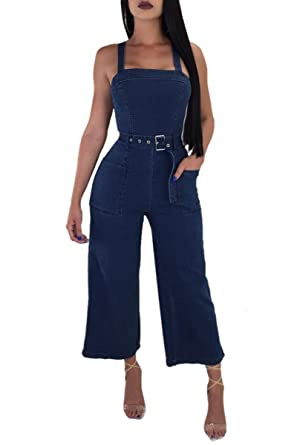8b8b71264b21 Womens Suspender Trousers Wide Leg Long Pants Jeans Jumpsuits with Belt Dk  Blue S