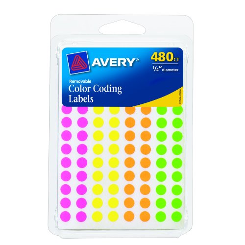(Avery Round Color Coding Labels, 0.25 Inch Diameter, Assorted Removable, Pack of 480 (6720))