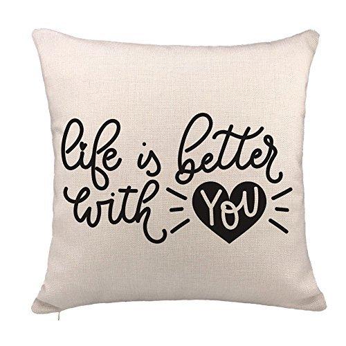 枕カバー、Love Is Better With Youスロー枕ケースLover引用符クッションカバーコットンリネン18 x 18インチ   B07FSF9GPL