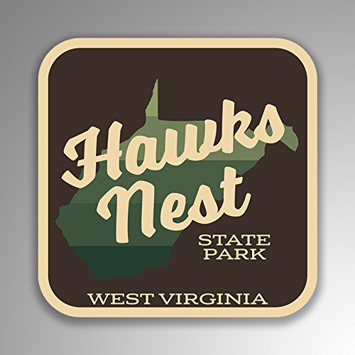 JMM Industries Hawks Nest State Park West Virginia Vinyl Decal Sticker Retro Vintage Look 2-Pack 4-inches by 4-inches Premium Quality UV Protective Laminate - Nest Hawks Park