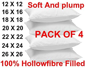 "New Hollowfibre Filling INSERTS Cushions Inners 16/"" 18/"" 20/"" 22/"" 24/"" All Sizes"