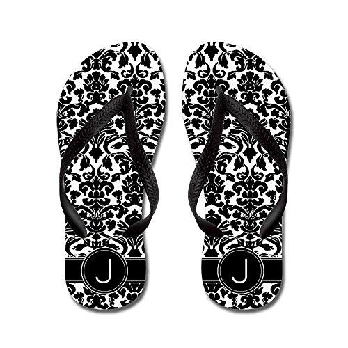 CafePress Monogram Damask Letter J Flip Flops - Flip Flops, Funny Thong Sandals, Beach Sandals Black