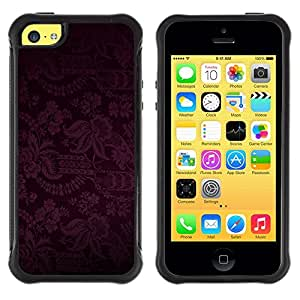 Fuerte Suave TPU GEL Caso Carcasa de Protección Funda para Apple Iphone 5C / Business Style Dark Black Purple Floral Pattern