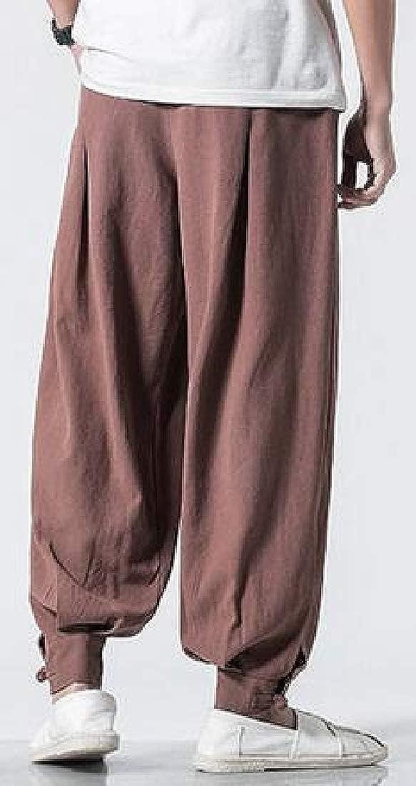 Cromoncent Mens Trousers Casual Linen Elastic Waist Loose Retro Cotton Pant