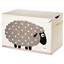 3 Sprouts Toy Chest, Beige Sheep