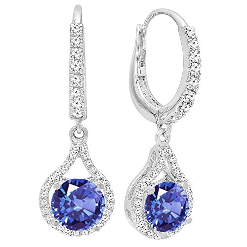 Dazzlingrock Collection 14K 5.5 MM Each Round Cut Tanzanite & White Diamond Ladies Dangling Drop Earrings, White Gold