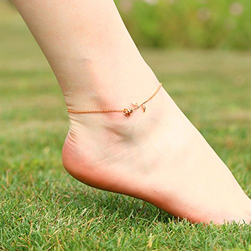 3UMeter Rose Women Girls Anklets Jewelry Exquisite Rose Gold Electroplate Brass Anklets Female, Great Foot Decoration Gift Valentine Mother's Day Birthday by 3UMeter (Image #2)
