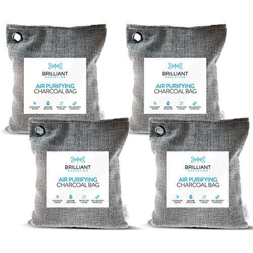 Brilliant Evolution Bamboo Charcoal Air Purifying Bag 220g 4 Pack | Car Air Freshener | Closet Deodorizer | Natural Air Purifier | Activated Charcoal Odor Absorber | Odor Eliminator | Room Deodorizer ()