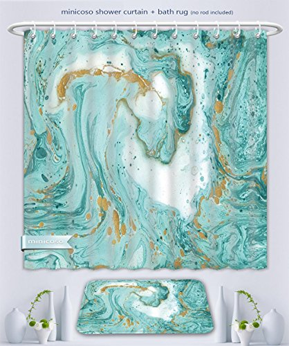 Minicoso Bathroom Two-Piece Suit: Shower Curtain and Bath Rug Decorative Marble Texture Abstract Painting Can Be Used As A Trendy Background For Wallpapers, 60