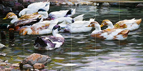 DUCKS ON A POND by Alexander Koester river lake birds landscape Tile Mural Kitchen Bathroom Wall Backsplash Behind Stove Range Sink Splashback 6x3 4'' Marble, Matte by FlekmanArt