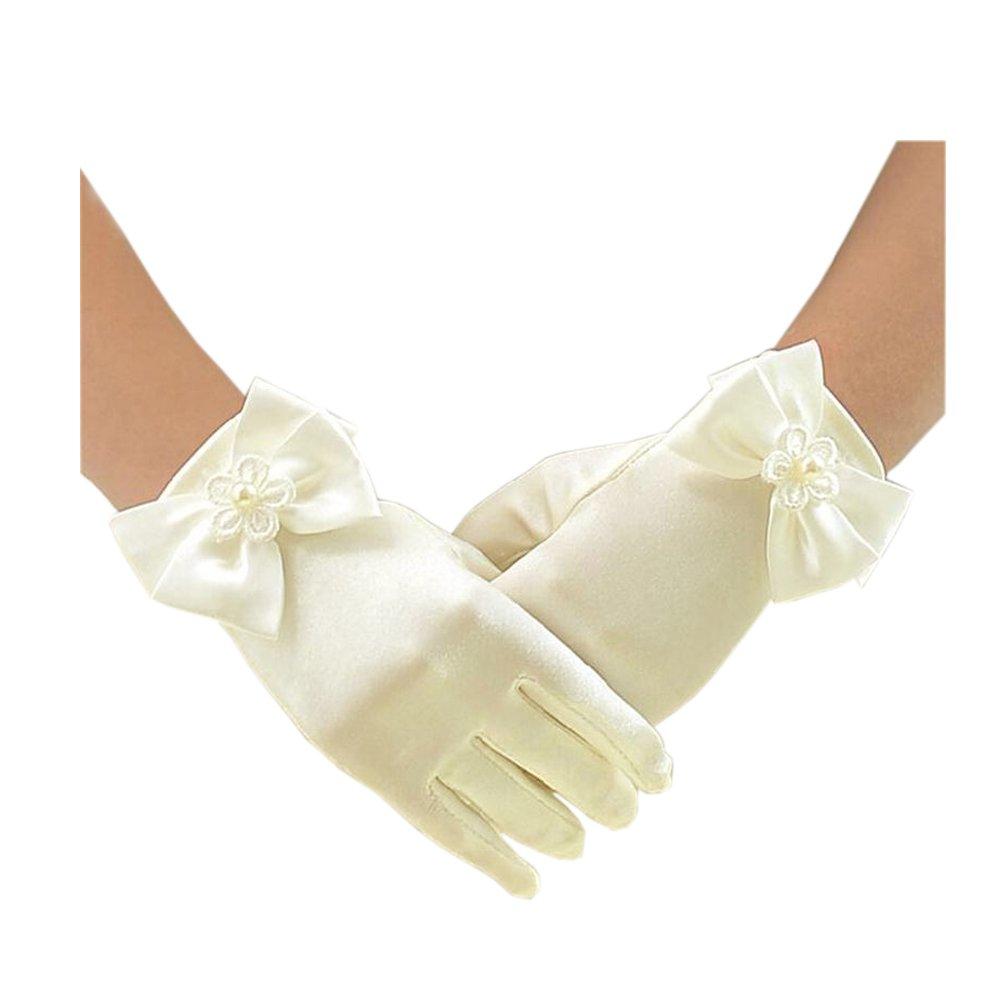 Short Flower Girls Gloves for Wedding Satin Gloves for Girls Princess Gloves CB-SFGL-P