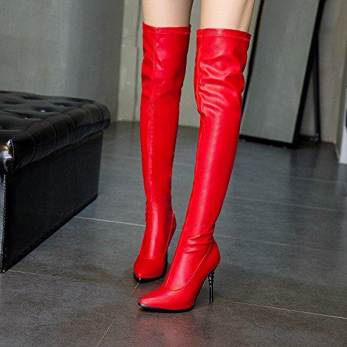 Genou Aiguilles Rouge Jieeme Bout Femmes Pointu on Talons Dames Le Sur Sexy Botte Noir Rouge Haut Slip qCwOxWBf