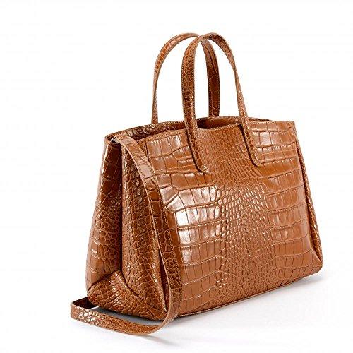 """Oh My Bag–Bolso de mano mujer piel """"cocodrilo–modelo Be Lady COGNAC FONCE"""