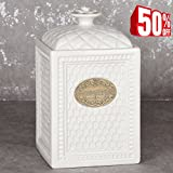 Kitchen Canister Ceramic Food Storage Jar, 67 Ounce with Airtight Lids, for Cookie, Sugar and Flour, Vintage White