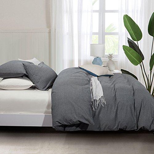 ATsense Duvet Cover Queen, 100% Washed Cotton, 3-Piece Bedding Duvet Cover Set, Simple Style Farmhouse Bedding Set (Dark Grey 7034)