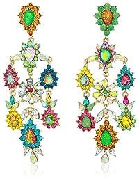 Betsey Johnson (GBG) Paradise Lost Women's Colorful Stone Flower Chandelier Drop Earrings, Multi, One Size