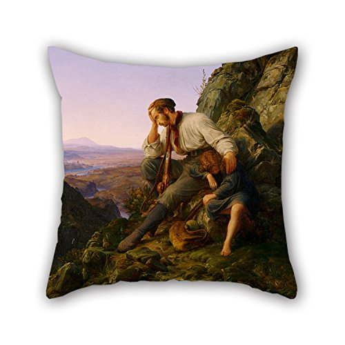 Throw Pillow Covers Of Oil Painting Karl Friedrich Lessing, German - The Robber And His Child 16 X 16 Inches / 40 By 40 Cm,best Fit For Indoor,wife,teens Boys,club,coffee House,home 2 (Sexy Robber)