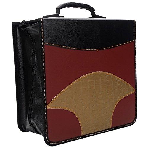 Thegood88 520 Disc Sheets Fan Shaped CD VCD DVD Storage Bag Case Claret & Black & Golden EB0016 Storage Case Holder PVC Disc Organizer Bag Wallet Pu Media Faux Album Binder (Inside Furniture Mile End)