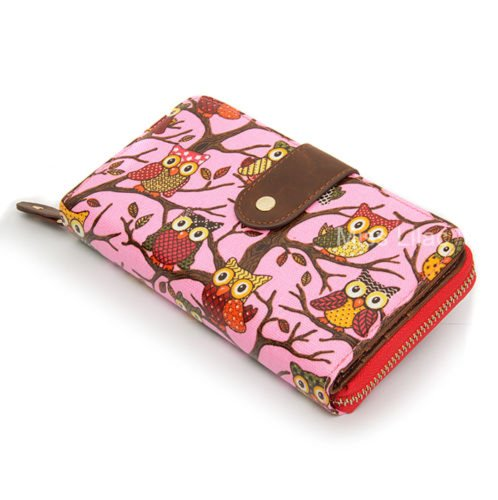 Purse Owl Folded Zip Fuchsia Pink Bag Butterfly 2005 Clutch PolkaDot Flower Owl Vintage Wallet Ladies 7qX8wYPY