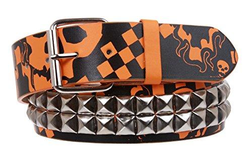 Snap On Art work Skull Cross Bone Tattoo Print Punk Rock Silver Star Studded Leather Belt, Orange/Black | M/L - 36