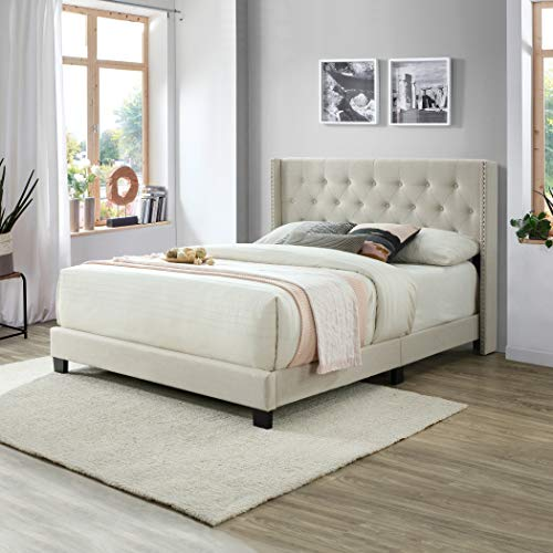 Queen Bed Frame, Upholstered Platform Bed with Tufted Headboard, Wood Slat Support, Linen Fabric, Queen Size, Beige