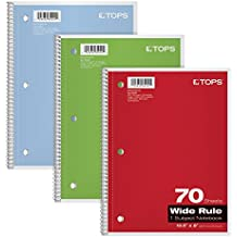 """TOPS 1-Subject Notebooks, Spiral, 8"""" x 10-1/2"""", Wide Rule, Color Assortment May Vary, 70 Sheets, 3 Pack (65029)"""