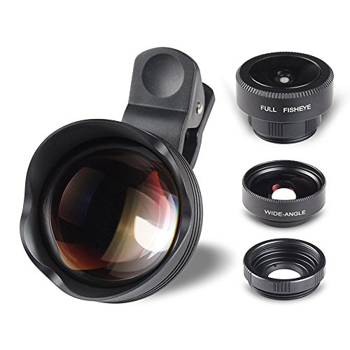 Mothca® Phone Lens, 4 in 1 HD Clip-on Super SCHOTT Glass 180° Fisheye +15X Macro lens + 0.65X 100°Wide Angle Lens + 3X Telephoto Lens Phone Camera Lens Kit for iPhone 6 6S Plus Samsung (4 in 1, Black) (Zoom Rival S7)