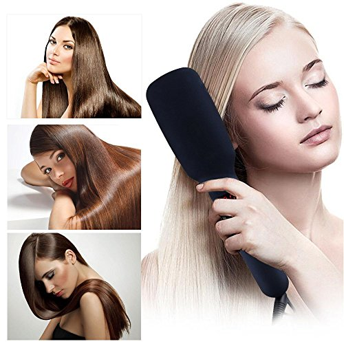 Hair Straightener Brush, YUMEITECH Ionic MCH Ceramic Heating Hair Straightener Comb with Heat Resistant Gloves, LED Display Adjustable Temperatures Anti Scald Anti Frizz Portable Hot Air Brush (Black) by YUMEITECH (Image #6)