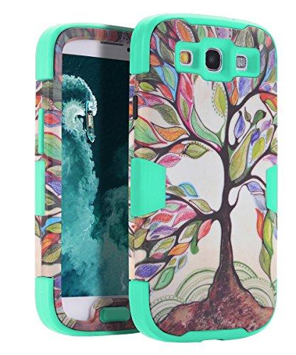 Galaxy S3 Case,S3 Case,SKYLMW[Shock Absorption]3 in 1 Hybrid Heavy Duty Anti-Scratches Armor High Impact Resistant Bumper Full-Body Protective Case Cover for Samsung Galaxy S3 III i9300,Tree Mint