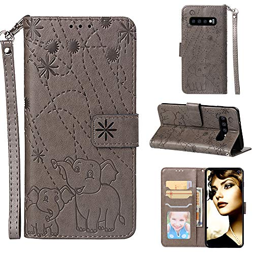 Yobby Wallet Case for Samsung Galaxy S10,Embossing Elephant Pattern Grey Phone Case Premium PU Leather Magnetic Slim Flip Cover with Card Holder and Wrist Strap Stand Shockproof Cover