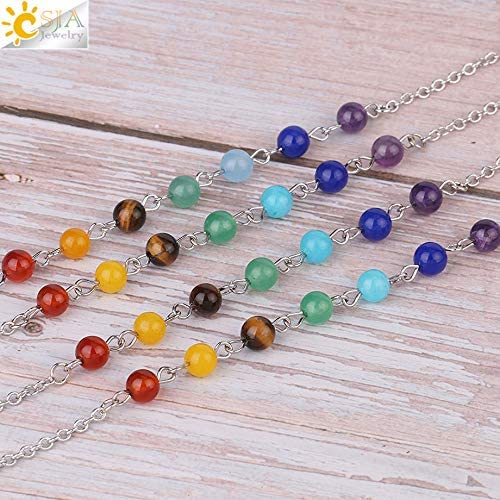 SELITE New Arrival 7 Chakra Wishing Bottle Pendulum Reiki Natural Chip Stone Pendant Necklace for Women Men Divination Amulet F976 Green Aventurine