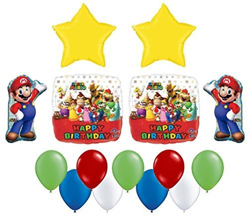 Super Mario Bros Mega Birthday Foil and Latex Balloons Bouquet (15 Pcs) (Mario Star Pinata)