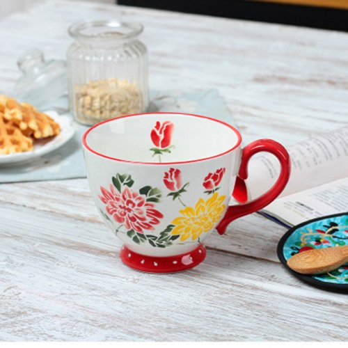 Nordic Bowls Cups Cartoon Noodles Bowls Cups Cereal Cups Ceramic Cups Hand-Painted Soup Cups Embossed Cups Mugs Red rose 401-500ml (Embossed Soup)