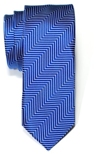 (Retreez Herringbone Stripe Woven Skinny Tie - Royal Blue)