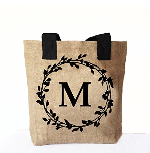Amore Beaute Handcrafted Natural Burlap Tote Bag Printed Monogram Tote Bags Personalised Market Bags Bridesmaid Present Customized Totes Wedding Favor Gifts by Amore Beaute