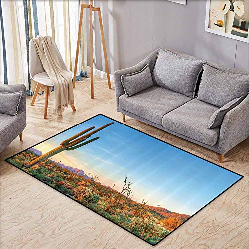 (Large Door mat,Saguaro Cactus Decor,Sun Goes Down in Desert Prickly pear Cactus Southwest Texas National Park,Rustic Home Decor,3'11