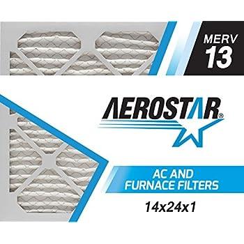 Aerostar 14x24x1 MERV 13, Pleated Air Filter, 14x24x1, Box of 6, Made in the USA