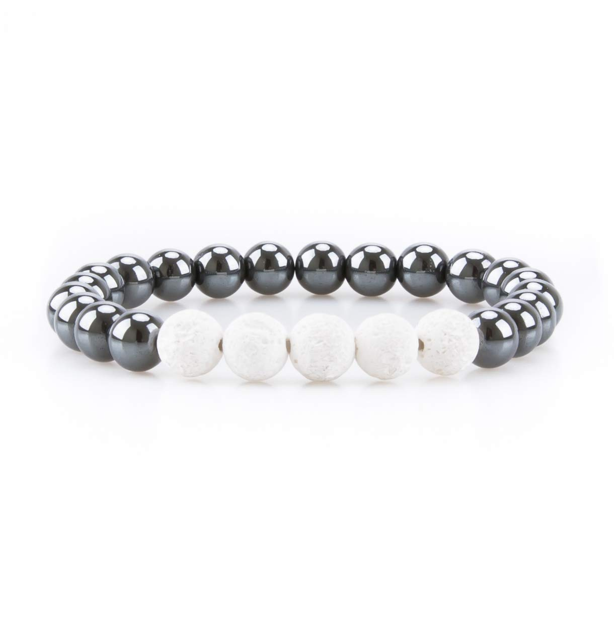 Bivei Hematite Magnetic Therapy Lava Stone Bead Essential Oil Diffuser Bracelet Pain Relief anbivi11122044