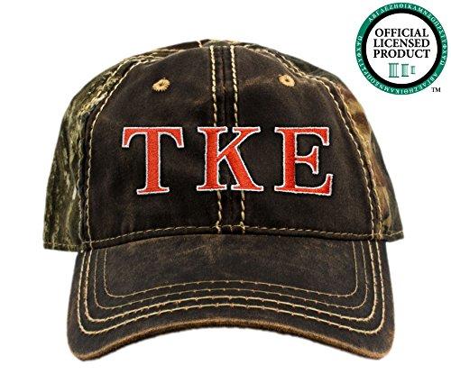 Tau Kappa Epsilon Embroidered Camo Baseball Hat, Various Thread Colors