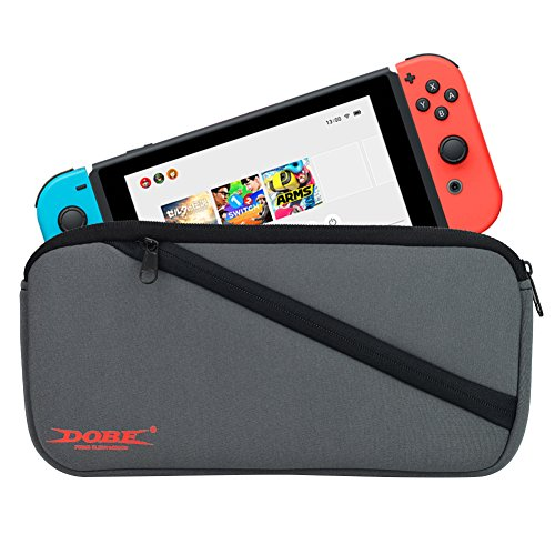 GamesBunds Soft Carry Pouch for Nintendo Switch, Neoprene Carrying Sleeve Case Travel Bag w/ Side Pocket for Nintendo Switch Console, Joy-Con, Game Cartridges, USB Cable, other accessories - Nintendo Sleeves