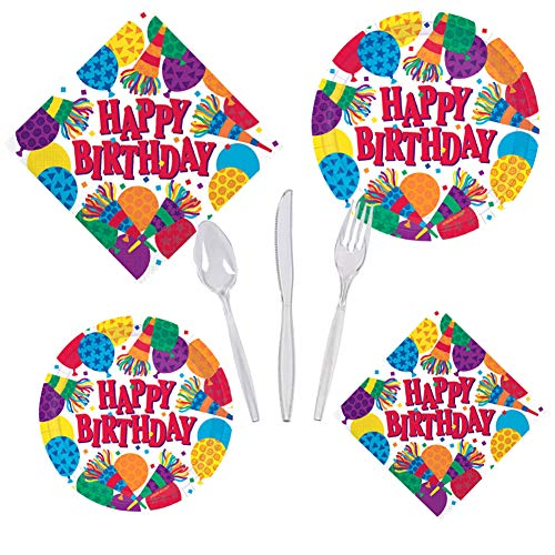 Birthday Party Supplies Horns Balloons Pack for Girls Boys Adults Set Serves 16 - Luncheon & Dessert Paper Plates, Napkins & Cutlery - Disposable Party Food and Cake for Home -