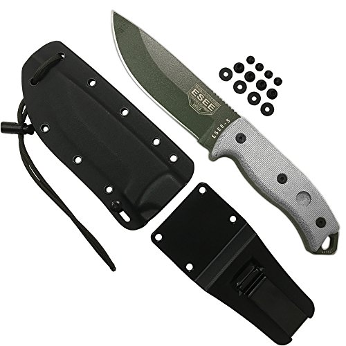 ESEE Knives ESEE-5P-OD-E, Esee-5, OD Green Plain Edge, Tan Micarta Handles, black Kydex Sheath, Clip Plate