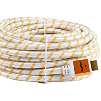 CableVantage HDMI 75ft Cable Cord With Ethernet Gold Plated Male to Male For PC PS4 Xbox TV Monitor High Speed HDMI 75feet Cable Cord Audio Return Full HD 1080P v1.4 White