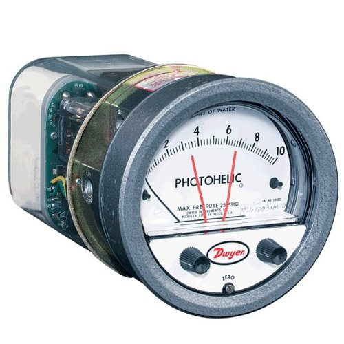 Dwyer Photohelic Series A3000 Pressure Switch/Gauge, Range 2-0-2''WC