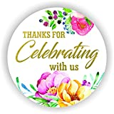 Thanks for Celebrating with us Stickers Seals Labels (Pack of 120) Stunning Gold Foil Stamping 2' Large Round - Floral White