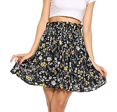 Zeagoo Women High Smocking Waisted Pleated Skirt Flowy Floral Flared Mini Skater Skirt