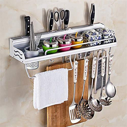 Holder Kitchen - Kitchen Utensil Rack Aluminum Pantry Cookware Spice Dinnerware Kitchenware Shelf Storage Cutlery Holder Hook ()