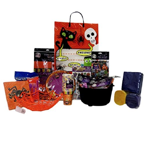 Best Halloween Party Pack For Kids With Tableware for 14 Guests, Friendly Halloween Favors, Table Decor, a Fun Spider Serving Basket ,a Witch's Cauldron and Tote to Pack for the Party (Brew Peoples Basket)