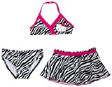 Hello Kitty Little Girls'  3 Pc Swimwear Set, (Halter, Bikini Bottom, Skirt), Zebra Print, 6x