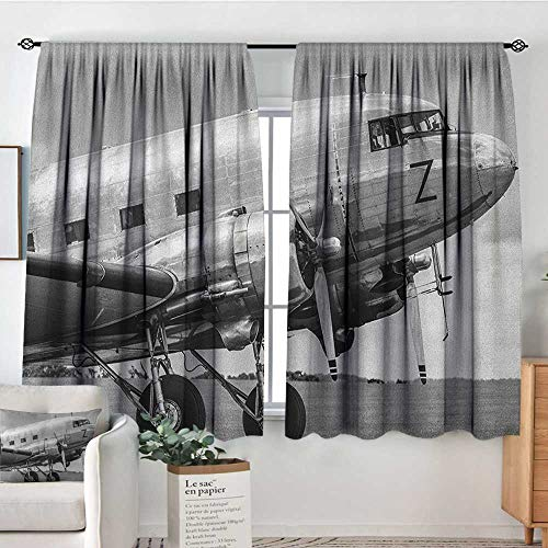 Theresa Dewey Rod Pocket Blackout Curtain Vintage Airplane,Old Airliner Cockpit Antique Engine Propellers Wings and Nostalgia Image, Grey Black,Decor/Room Darkening Window Curtains 42